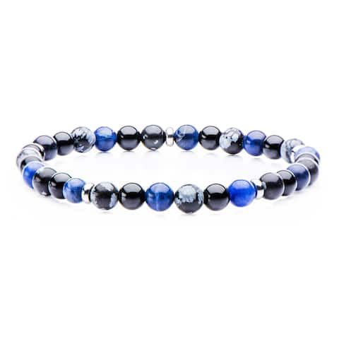 Inox Mens Stainless Steel and Sodalite, Black Agate, Snowflake Beads Bracelet 8 inch long