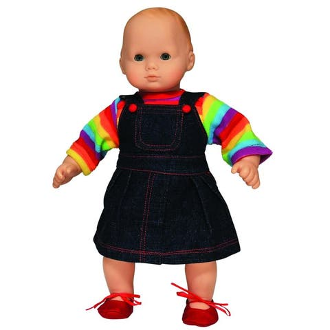 "15"" Doll Clothes for American Girl Bitty Baby & Bitty Twins Rainbow Outfit Skirt Shirt and Shoes"