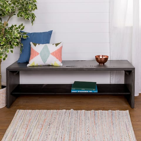 58-inch Reclaimed Entry Bench with Lower Shelf