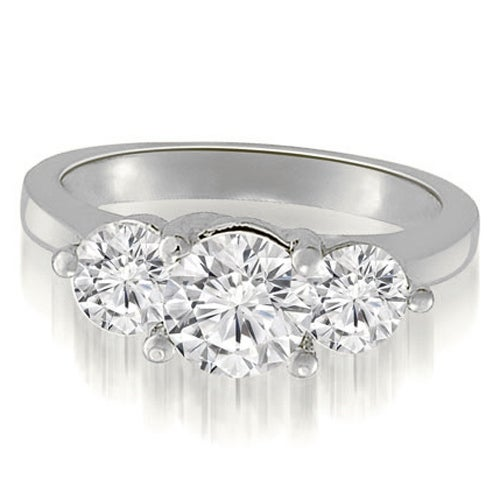 2.00 cttw. 14K White Gold Classic Three-Stone Round Cut Diamond Engagement Ring