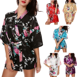PEACOCK FLORAL PRINT Women's Satin Charmeuse Kimono Robes Set Belted Bathrobe Lingerie