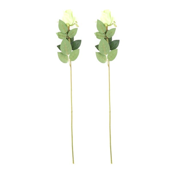Home Party Plastic Rose Shaped Table Desk Decor Artificial Flower Green 2 Pcs