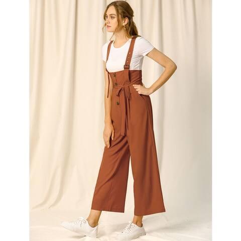 Women's Button Front High Waist Belt Straight Overall Jumpsuit
