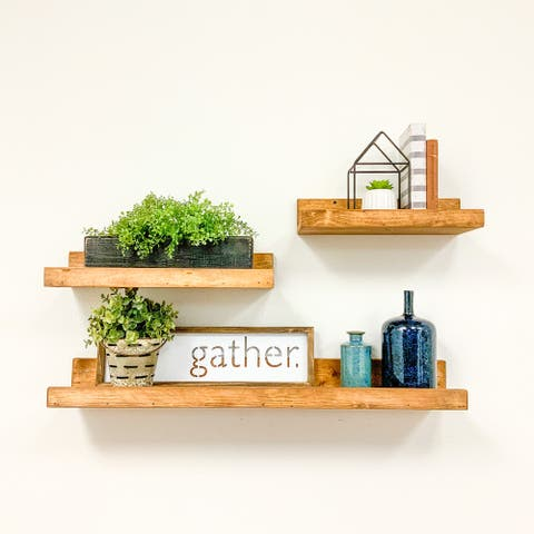 Rustic Luxe Shallow Three Piece Set Handmade Solid Wood Floating Shelves by Del Hutson Designs