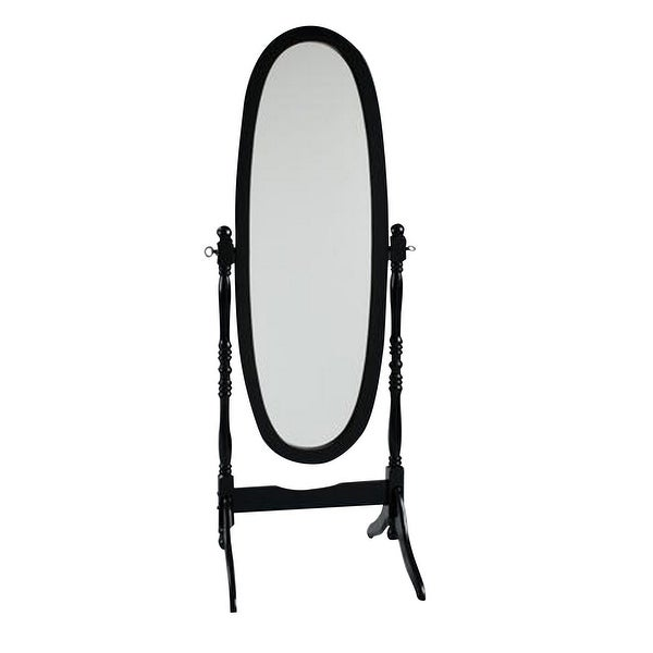 59 Inch Oval Wooden Frame Tilt Cheval Mirror, Black and Silver. Opens flyout.