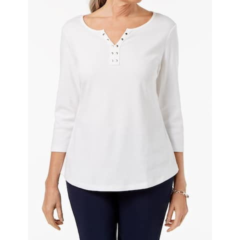 Karen Scott Women's Top White Size XL Stud-Embellished 3/4 Sleeve