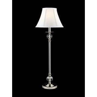 "32"" Polished Chrome Crystal Buffet Lamp with Sleek White Drum Shade"