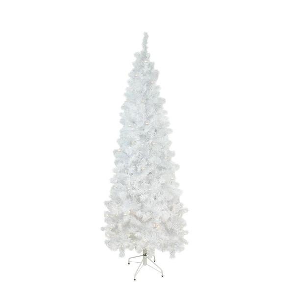 "7.5' x 36"" Pre-Lit White Winston Pine Artificial Christmas Tree - Warm White LED Lights"