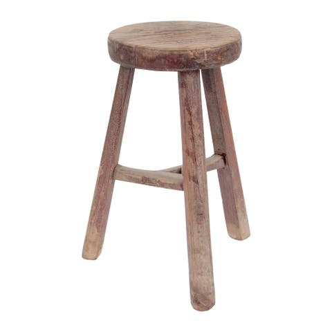 "Lily's Living Round Vintage Stool, Weathered Natural Wood Finish - 9'6"" x 12'11"""