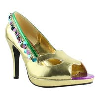 Ellie Shoes Womens 414-Masquerade Gold Sandals Size 10