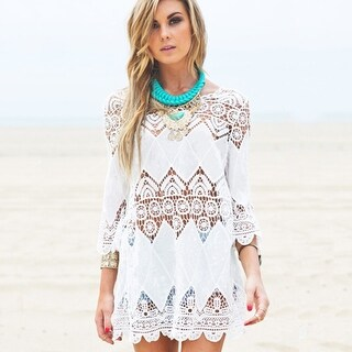 Crochet Embroidered Beach Cover Up