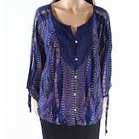 Lucky Brand Blue Womens Size Medium M Printed Split-Neck Blouse
