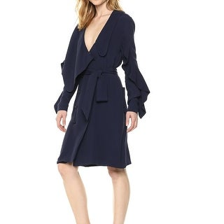 Link to Elliatt Women's Wrap Dress Navy Blue Size Small S Belted Ruffle Sleeve Similar Items in Dresses