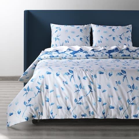 Exclusive Fabrics Van Gogh Ocean Blue Cotton Percale Printed Reversible Duvet Cover Set
