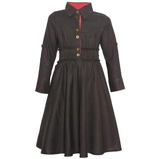 Maria Elena Little Girls Charcoal Shirt Style Long Sleeve Vintage Dress