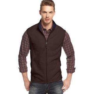 Club Room Full Zip Mock Neck Fleece Vest Coffee Bean Brown Small S