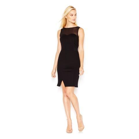 KENSIE $89 Womens New 4248 Black Slitted Illusion Sleeveless Dress S B+B