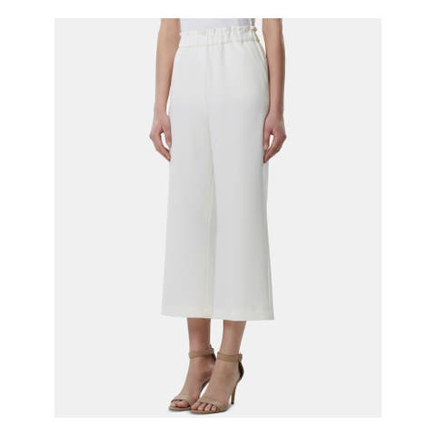 TAHARI Womens Ivory Wide Leg Wear to Work Pants Size 8