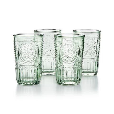 Bormioli Rocco Romantic Glass Drinking Tumbler Victorian Inspired 10.25 Oz Set Of 4 - Pastel Green