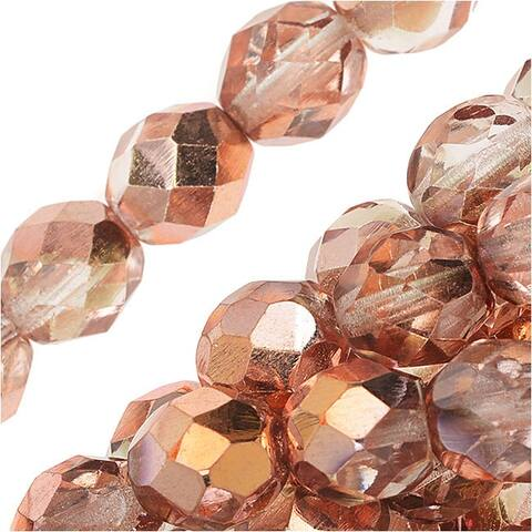Czech Fire Polished Glass Beads 8mm Round 'Apollo Gold' (25)
