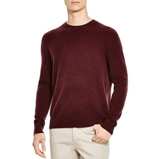 Bloomingdales Mens Cashmere Mini Jacquard Crewneck Sweater X-Large XL Wine
