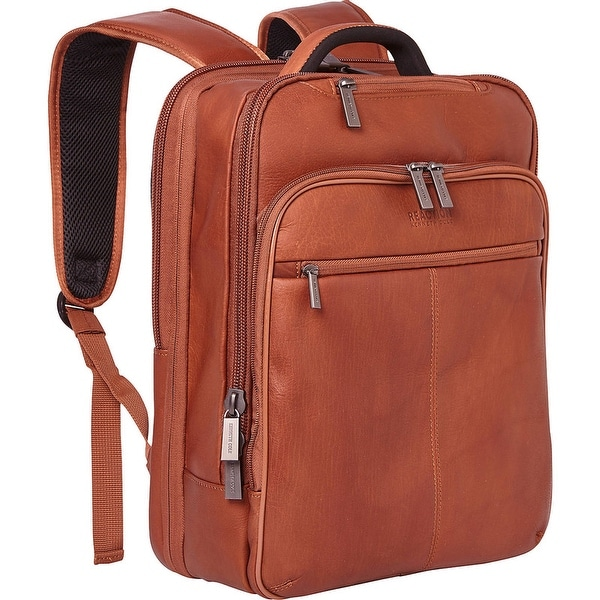 """Kenneth Cole Reaction """"Back-Stage Access"""" 16-inch Laptop & Tablet Full-Grain Colombian Leather Checkpoint-Friendly Backpack. Opens flyout."""