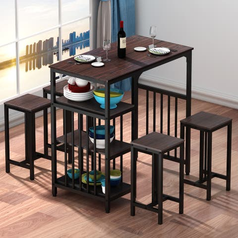 5 Piece Counter Height Dining Set with 3 Tier Storage Shelf