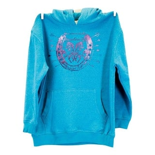 Cowgirl Tuff Western Sweatshirt Girls Hoodie Glitter Maui Blue H00474