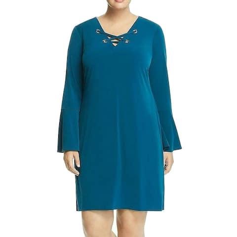 Michael Kors Women's Dress Teal Green Size 2X Plus Shift Grommet