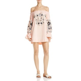 Free People Womens Mini Dress Embroidered Bell Sleeves