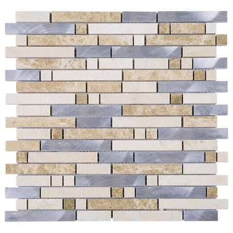 TileGen. Series Thread Random Sized Mosaic Tile in Beige/Silver Wall Tile (10 sheets/9.6sqft.)