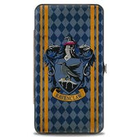Ravenclaw Crest Stripes Diamonds Blues Gold Hinged Wallet  One Size - One Size Fits most