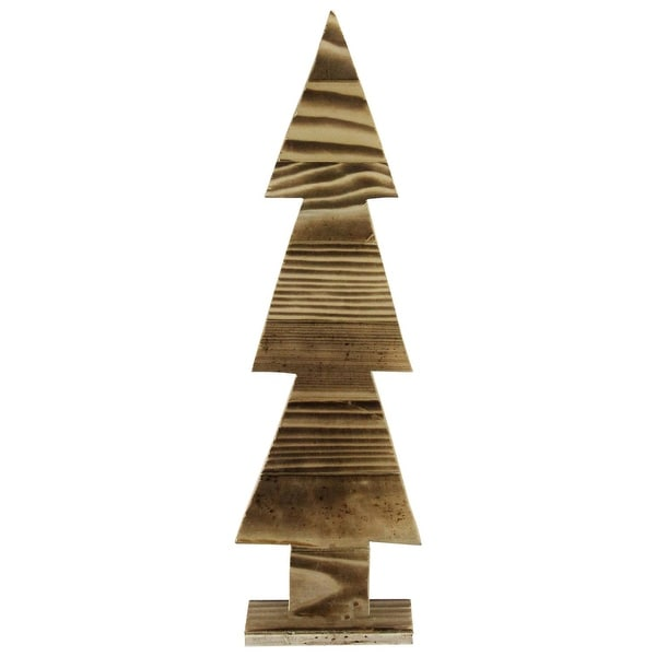 """16.25"""" Rustic Wood Cut-Out Christmas Tree Table Top Decoration - brown"""