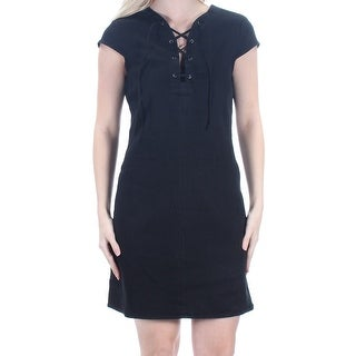 MATERIAL GIRL $59 Womens New 1366 Black Tie Above Knee Tunic Dress S Juniors B+B