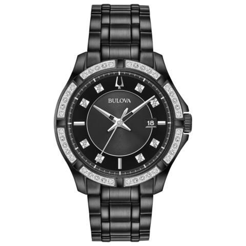 Bulova Men's 98E116 Black IP Stainless Diamond Accent Bracelet Watch
