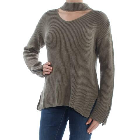 BAR III Womens Green Zip-cuff Choker-neck Long Sleeve V Neck Sweater Plus Size: XXL