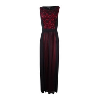 Connected Women's Petite Lace Chiffon A-Line Gown