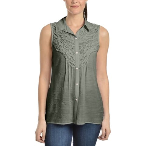 NY Collection Women's Top Blouse Green Size Medium M Button Down Shirt