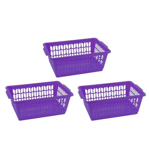 Small Plastic Storage Basket for Organizing Kitchen Pantry, Pack of 3