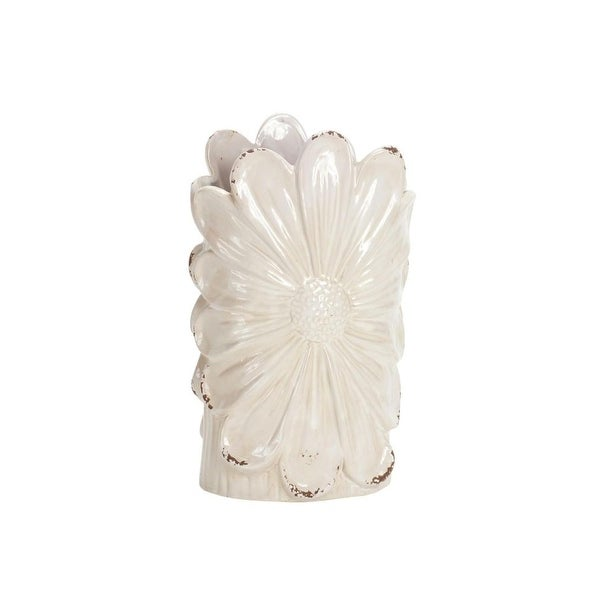 Pack of 4 Pearl Igneous White and Pale Brown Edge Decorative Tall Floral
