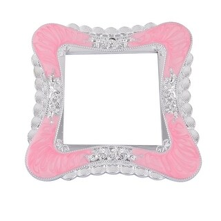 Plastic Flower Pattern Switch Sticker Socket Cover Protector Pink Silver Tone