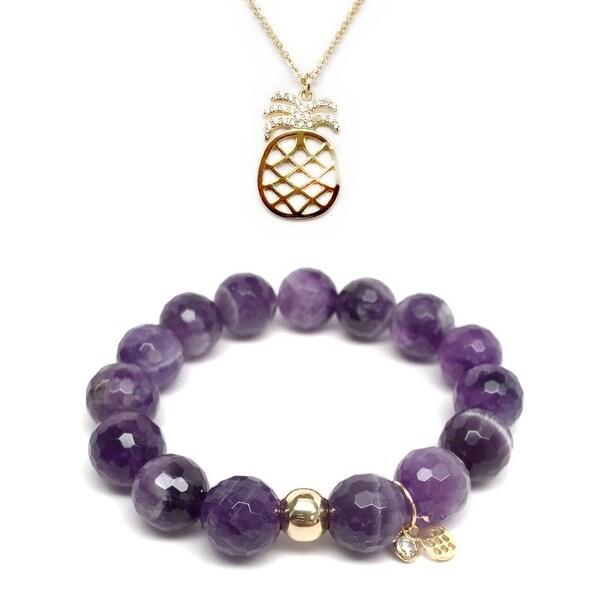 Purple Amethyst Bracelet & CZ Pineapple Gold Charm Necklace Set