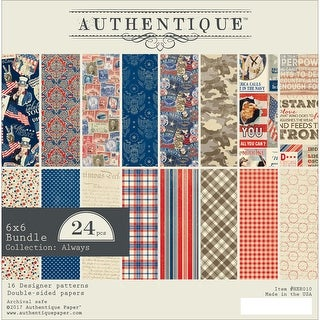 "Authentique Double-Sided Cardstock 6""X6"" 24/Pkg-Heroic, 8 Designs/3 Each"