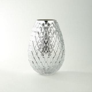 "10"" Metallic Silver Bumpy Round Glass Vase"