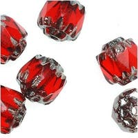 Czech Cathedral Glass Beads 6mm Ruby Red/Silver Ends (25)