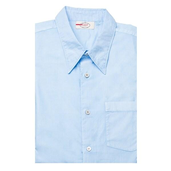 Shop Prada Men s Short Sleeve Pointed Collar Dress Shirt Sky Blue - Free  Shipping Today - Overstock.com - 14549790 3a6bd9906a