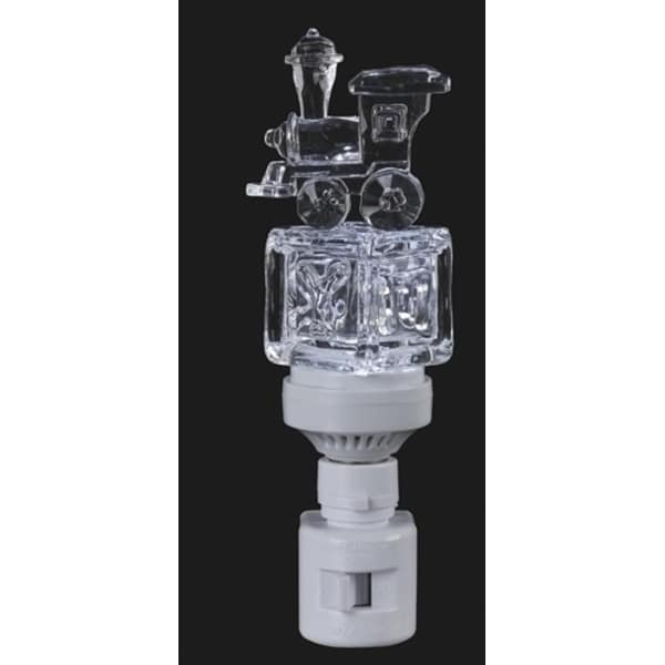 """6.5"""" Icy Crystal LED Lighted Baby Block with Train Night Light - CLEAR"""