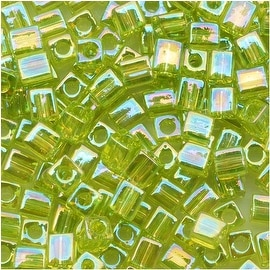 Miyuki 4mm Glass Cube Beads Transparent Lime Green AB 258 10 Grams
