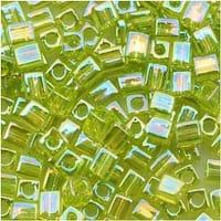 Miyuki 4mm Glass Cube Beads Transparent Lime Green AB 258 10 Grams