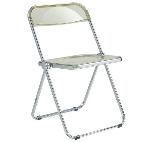 """LeisureMod Lawrence Acrylic Folding Chair With Metal Frame - 30"""""""